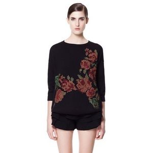 Zara floral cross-stitch knit crewneck sweater